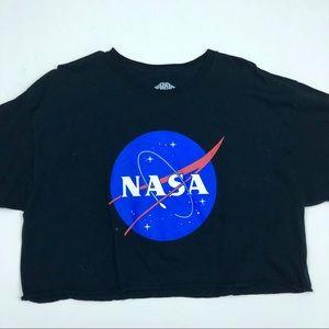 NASA Space Case Black Crop Top Size XL